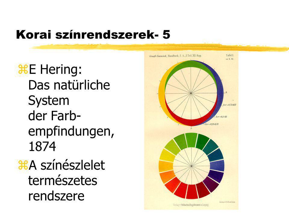 Korai színrendszerek- 5 zE Hering: Das natürliche System der Farb- empfindungen, 1874 zA színészlelet természetes rendszere