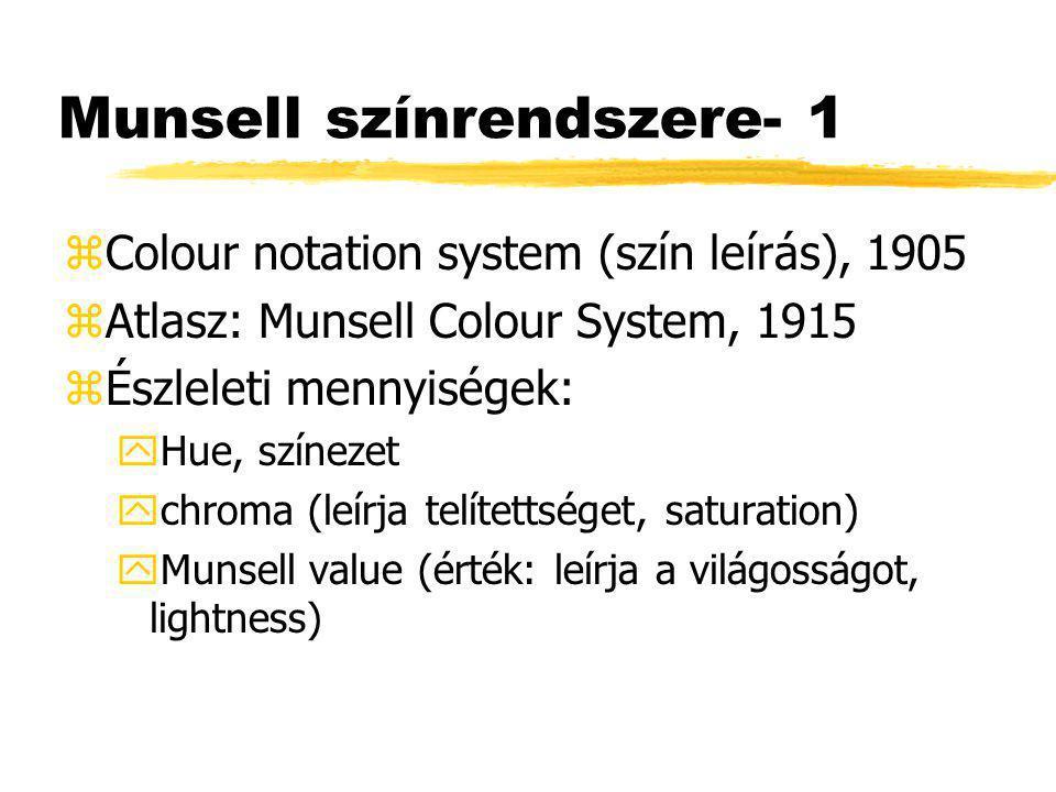 Munsell színrendszere- 1 zColour notation system (szín leírás), 1905 zAtlasz: Munsell Colour System, 1915 zÉszleleti mennyiségek: yHue, színezet ychroma (leírja telítettséget, saturation) yMunsell value (érték: leírja a világosságot, lightness)