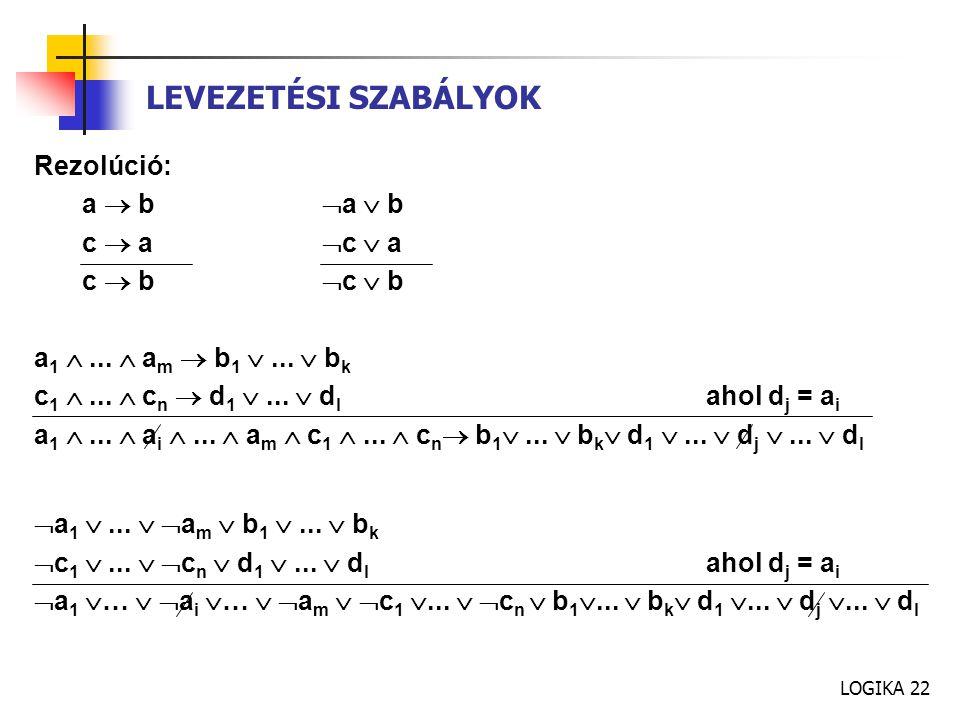 LOGIKA 22 Rezolúció: a  b  a  b c  a  c  a c  b  c  b a 1 ...  a m  b 1 ...  b k c 1 ...  c n  d 1 ...  d l ahol d j = a i a 1 ...