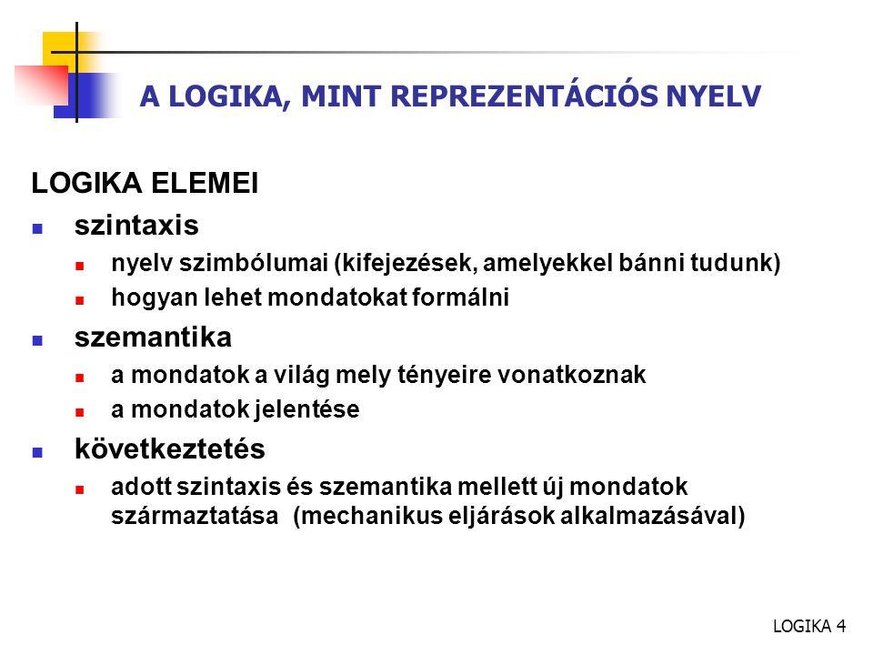 LOGIKA 4 A LOGIKA, MINT REPREZENTÁCIÓS NYELV LOGIKA ELEMEI szintaxis nyelv szimbólumai (kifejezések, amelyekkel bánni tudunk) hogyan lehet mondatokat