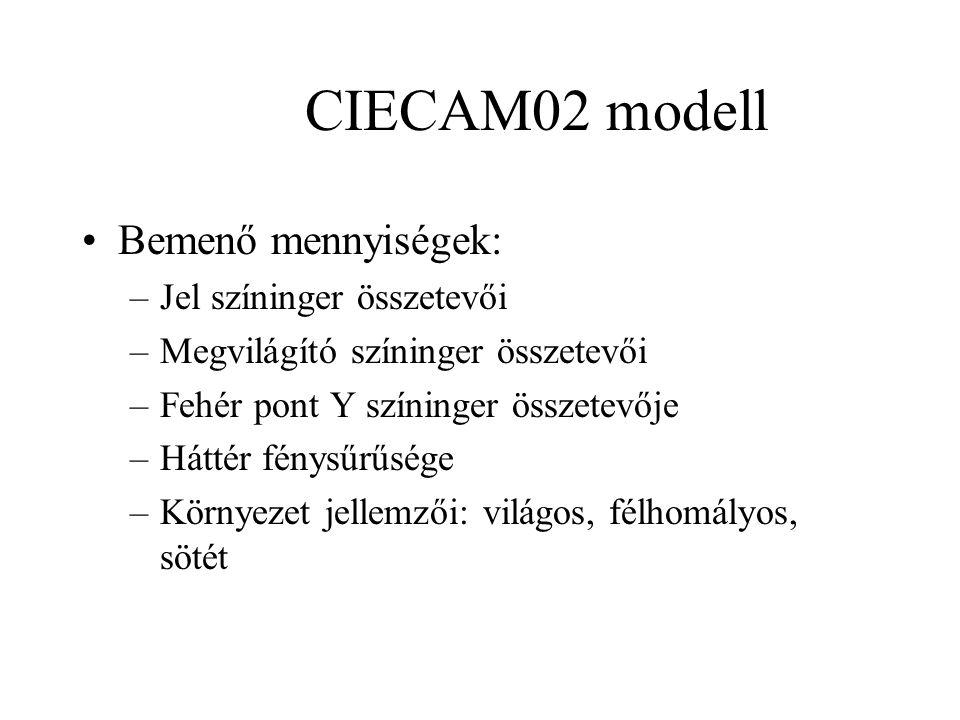 CIECAM02 modell Bemenő mennyiségek: –Jel színinger összetevői –Megvilágító színinger összetevői –Fehér pont Y színinger összetevője –Háttér fénysűrűsége –Környezet jellemzői: világos, félhomályos, sötét
