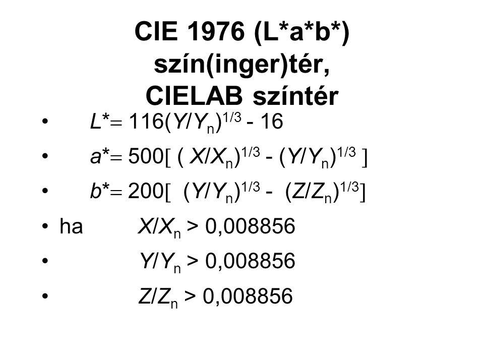 CIE 1976 (L*a*b*) szín(inger)tér, CIELAB színtér L*  116(Y/Y n ) 1/3 - 16 a*  500  ( X/X n ) 1/3 - (Y/Y n ) 1/3  b*  200  (Y/Y n ) 1/3 - (Z/Z n ) 1/3  ha X/X n > 0,008856 Y/Y n > 0,008856 Z/Z n > 0,008856