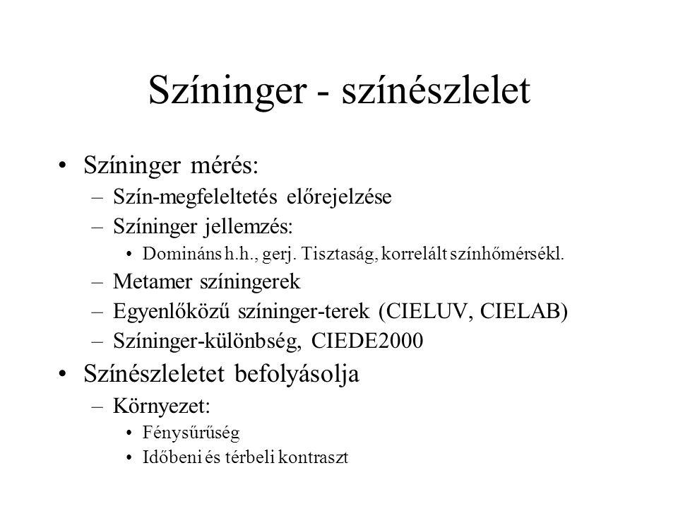 Színinger - színészlelet Színinger mérés: –Szín-megfeleltetés előrejelzése –Színinger jellemzés: Domináns h.h., gerj. Tisztaság, korrelált színhőmérsé