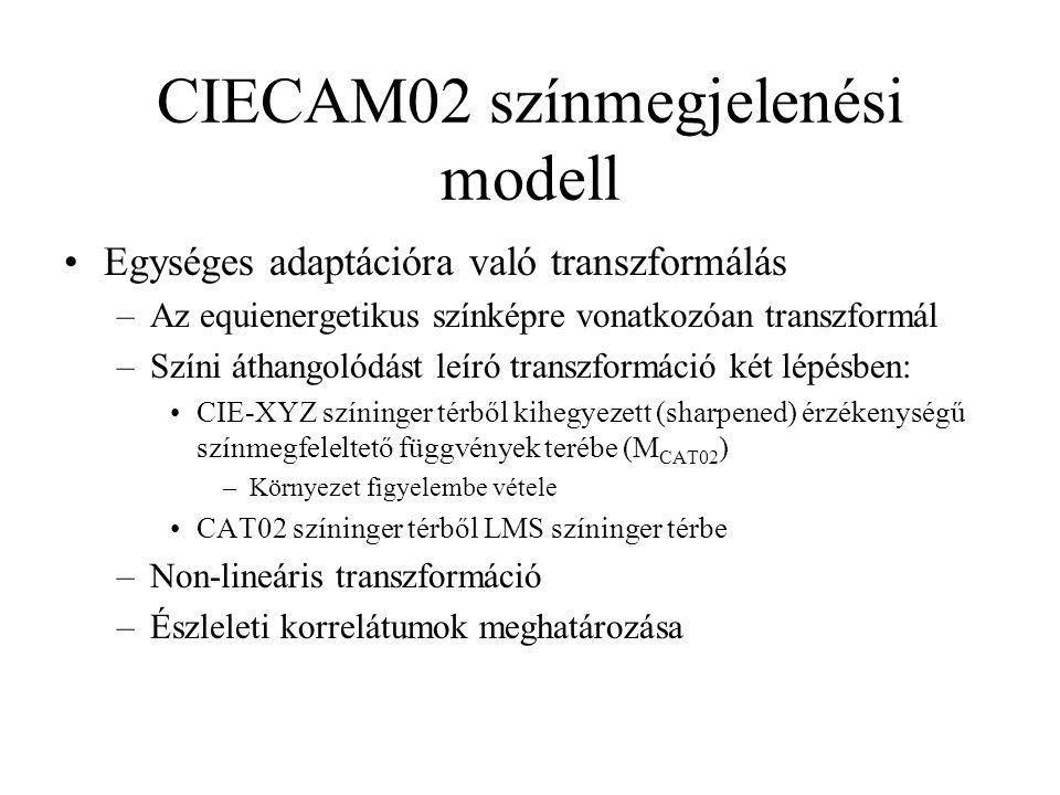 CIECAM02 színmegjelenési modell Egységes adaptációra való transzformálás –Az equienergetikus színképre vonatkozóan transzformál –Színi áthangolódást l