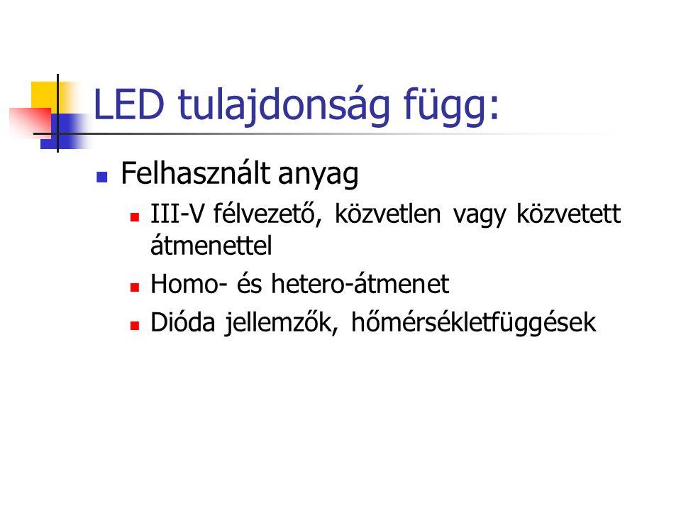 LED tulajdonság függ: Felhasznált anyag III-V félvezető, közvetlen vagy közvetett átmenettel Homo- és hetero-átmenet Dióda jellemzők, hőmérsékletfüggé