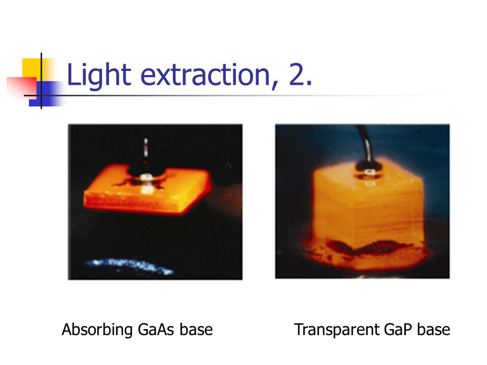Light extraction, 2. Absorbing GaAs base Transparent GaP base