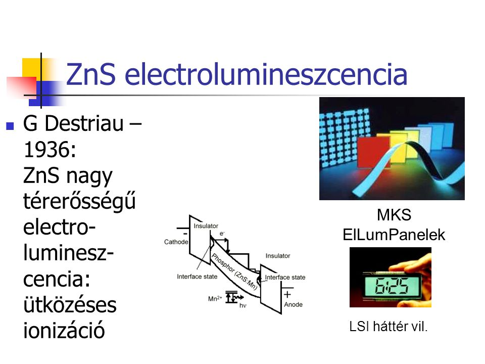 ZnS electrolumineszcencia G Destriau – 1936: ZnS nagy térerősségű electro- luminesz- cencia: ütközéses ionizáció MKS ElLumPanelek LSI háttér vil.