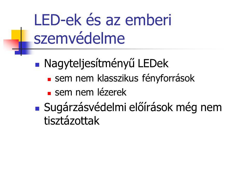LED-ek és az emberi szemvédelme Nagyteljesítményű LEDek sem nem klasszikus fényforrások sem nem lézerek Sugárzásvédelmi előírások még nem tisztázottak