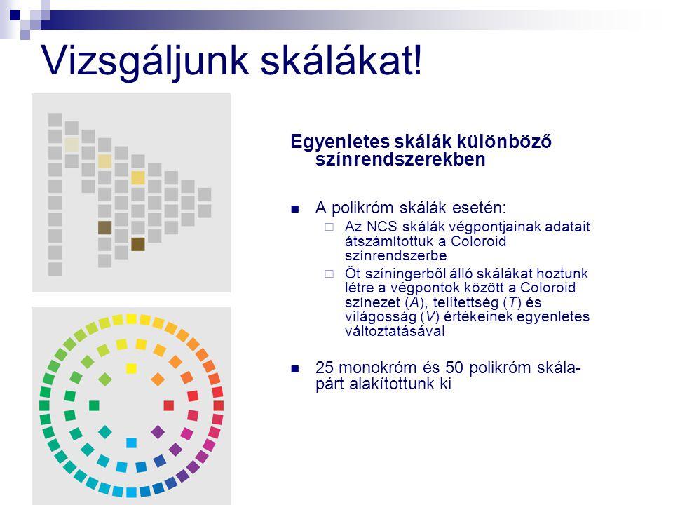 Vizsgáljunk skálákat! Egyenletes skálák különböző színrendszerekben A polikróm skálák esetén:  Az NCS skálák végpontjainak adatait átszámítottuk a Co