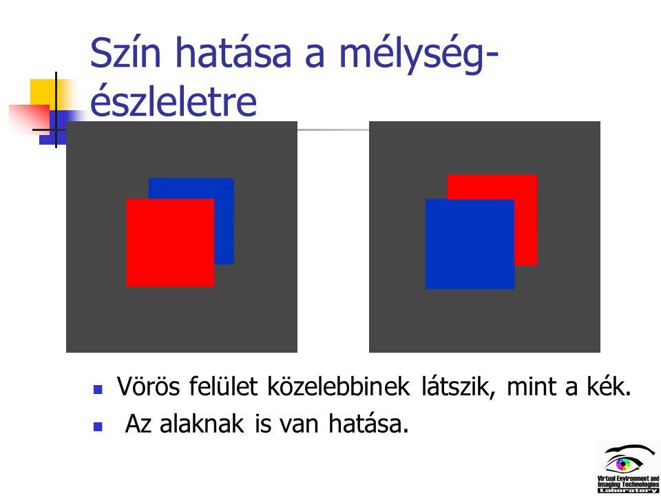 Szín hatása a mélység- észleletre Vörös felület közelebbinek látszik, mint a kék.
