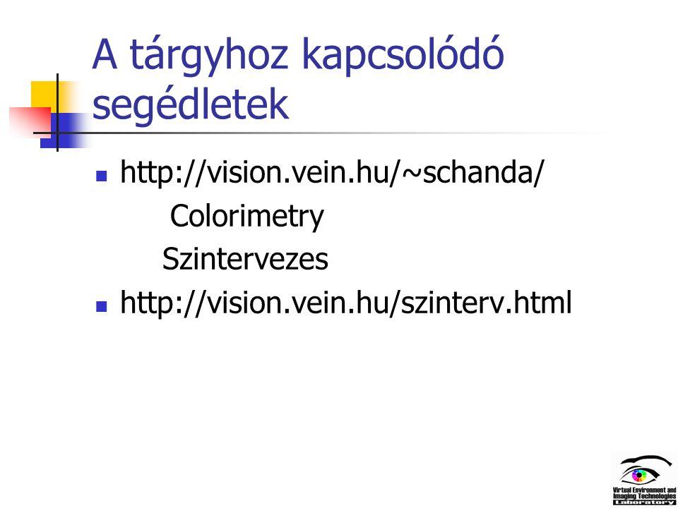 A tárgyhoz kapcsolódó segédletek http://vision.vein.hu/~schanda/ Colorimetry Szintervezes http://vision.vein.hu/szinterv.html