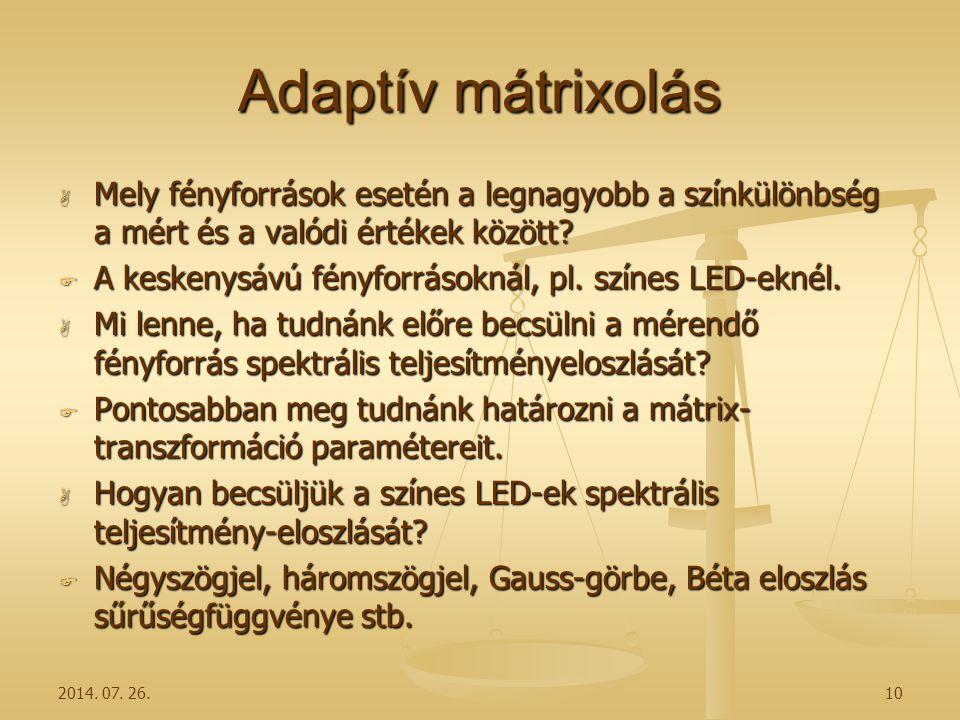 Adaptív mátrixolás  Mely fényforrások esetén a legnagyobb a színkülönbség a mért és a valódi értékek között?  A keskenysávú fényforrásoknál, pl. szí