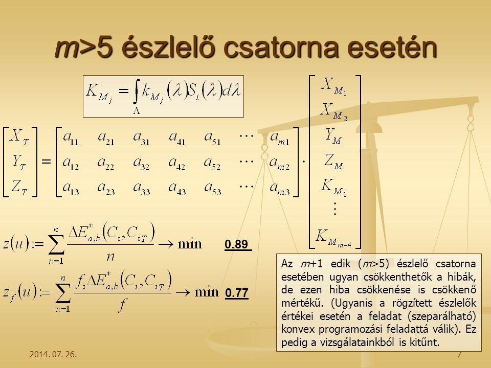 2014. 07. 26.7 m>5 észlelő csatorna esetén Az m+1 edik (m>5) észlelő csatorna esetében ugyan csökkenthetők a hibák, de ezen hiba csökkenése is csökken