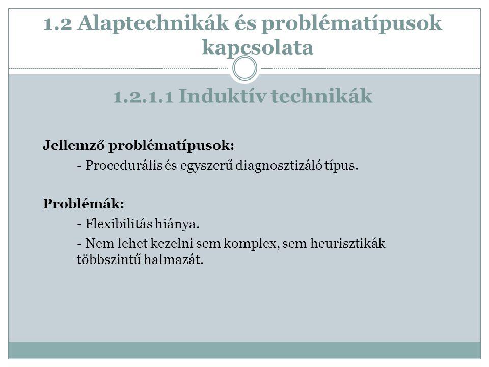 1.2 Alaptechnikák és problématípusok kapcsolata Jellemző problématípusok: - Procedurális és egyszerű diagnosztizáló típus.