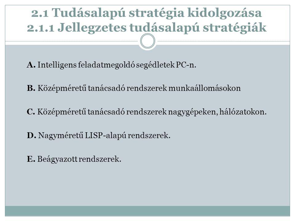 2.1 Tudásalapú stratégia kidolgozása 2.1.1 Jellegzetes tudásalapú stratégiák A.