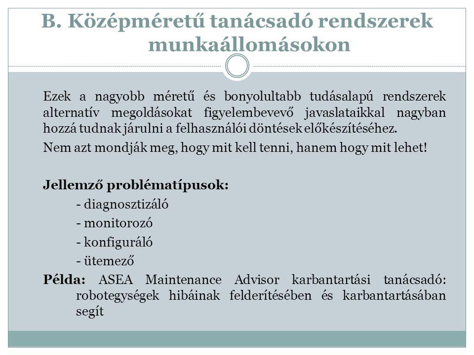 B. Középméretű tanácsadó rendszerek munkaállomásokon Ezek a nagyobb méretű és bonyolultabb tudásalapú rendszerek alternatív megoldásokat figyelembevev