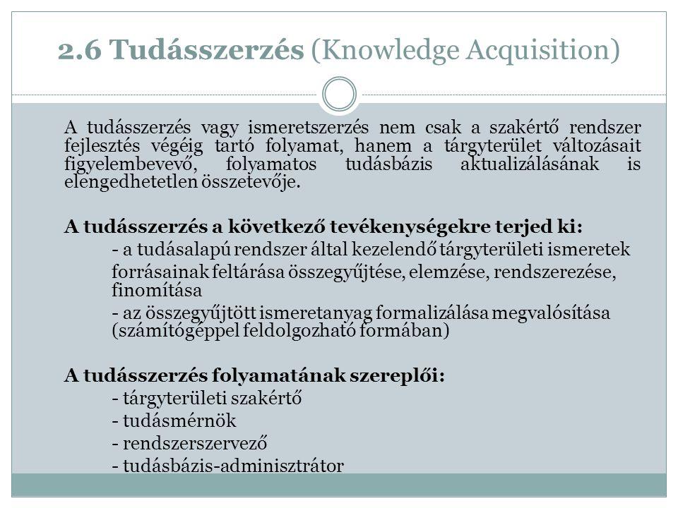 2.6 Tudásszerzés (Knowledge Acquisition) A tudásszerzés vagy ismeretszerzés nem csak a szakértő rendszer fejlesztés végéig tartó folyamat, hanem a tárgyterület változásait figyelembevevő, folyamatos tudásbázis aktualizálásának is elengedhetetlen összetevője.