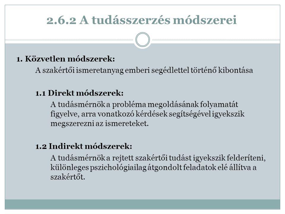 2.6.2 A tudásszerzés módszerei 1.