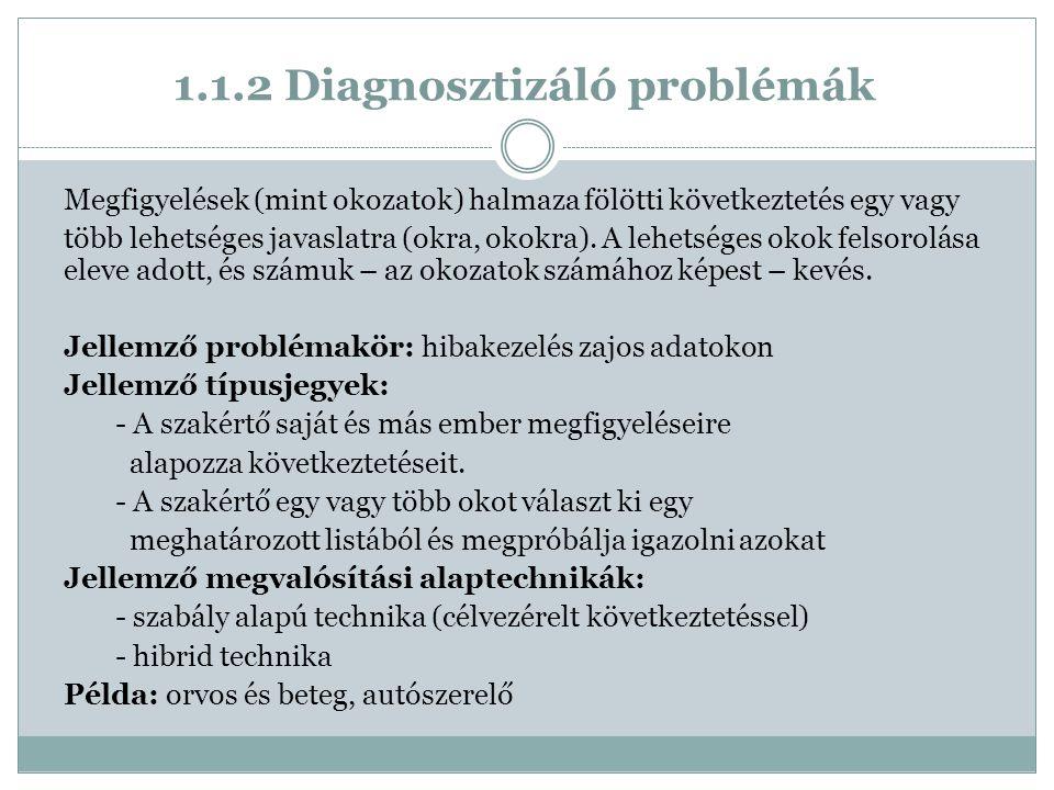 1.1.2 Diagnosztizáló problémák Megfigyelések (mint okozatok) halmaza fölötti következtetés egy vagy több lehetséges javaslatra (okra, okokra).