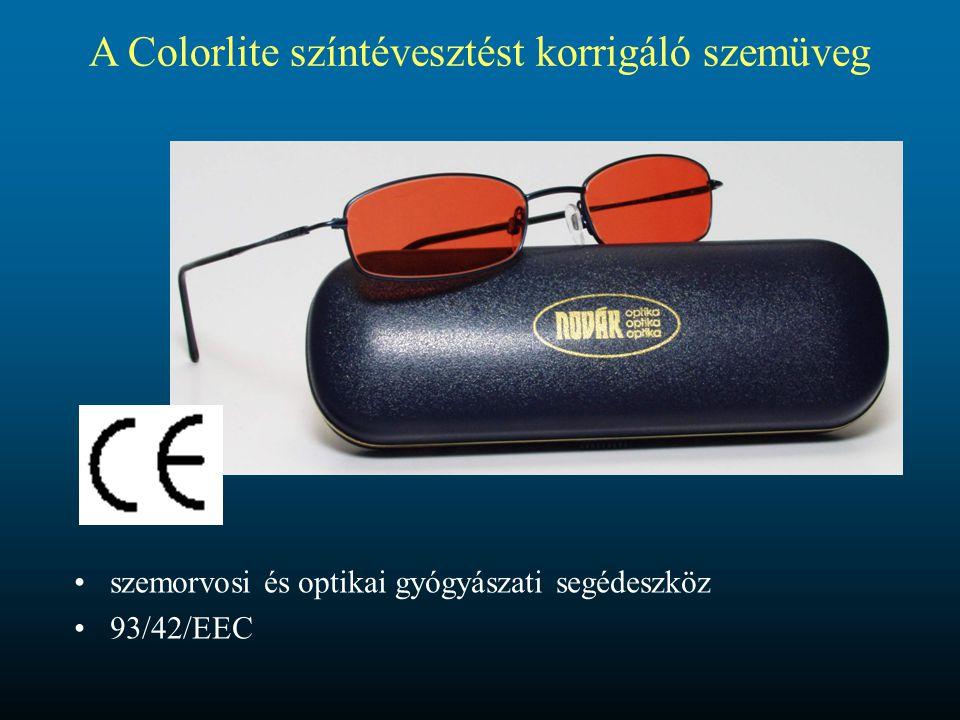 A színtévesztést korrigáló szemüveg működési elve Az anomális színérzékenységi görbéket színszűrők (színes szemüvegek) alkalmazásával oly módon formáljuk át, hogy színérzékelésük a normál színlátókéhoz legyen hasonló.