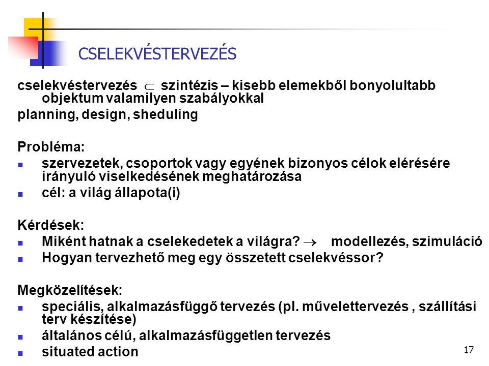 17 CSELEKVÉSTERVEZÉS cselekvéstervezés  szintézis – kisebb elemekből bonyolultabb objektum valamilyen szabályokkal planning, design, sheduling Problé