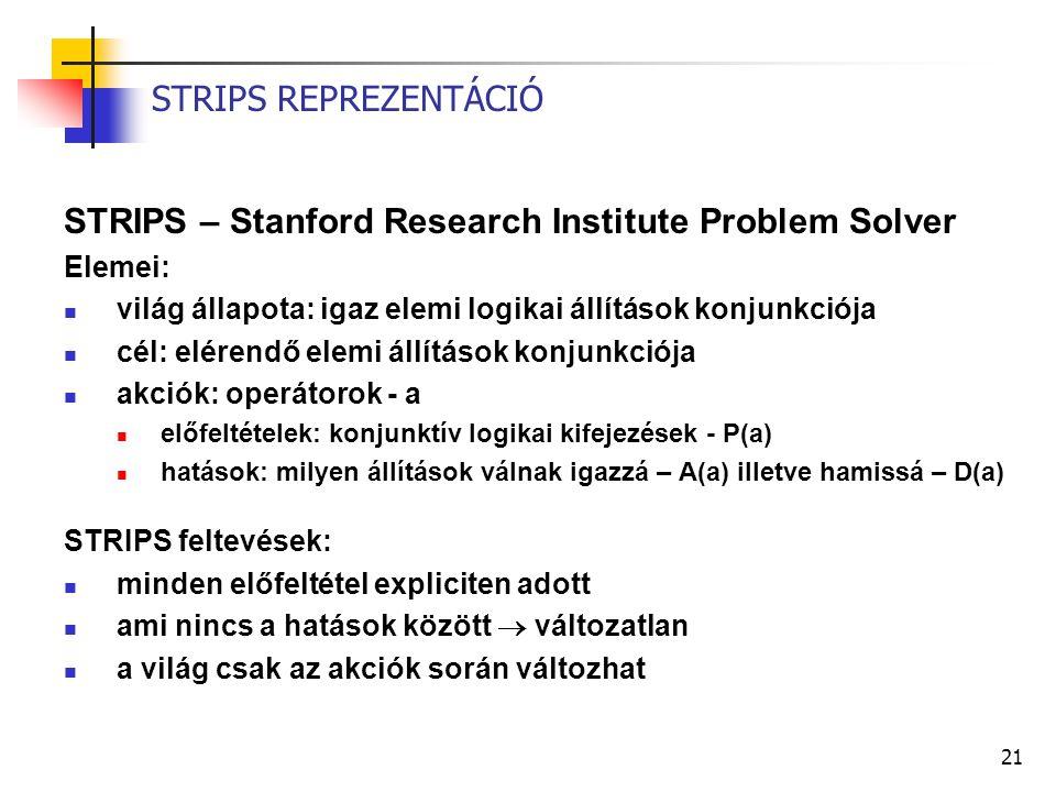 21 STRIPS REPREZENTÁCIÓ STRIPS – Stanford Research Institute Problem Solver Elemei: világ állapota: igaz elemi logikai állítások konjunkciója cél: elérendő elemi állítások konjunkciója akciók: operátorok - a előfeltételek: konjunktív logikai kifejezések - P(a) hatások: milyen állítások válnak igazzá – A(a) illetve hamissá – D(a) STRIPS feltevések: minden előfeltétel expliciten adott ami nincs a hatások között  változatlan a világ csak az akciók során változhat