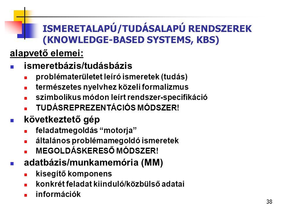 38 ISMERETALAPÚ/TUDÁSALAPÚ RENDSZEREK (KNOWLEDGE-BASED SYSTEMS, KBS) alapvető elemei: ismeretbázis/tudásbázis problématerületet leíró ismeretek (tudás) természetes nyelvhez közeli formalizmus szimbolikus módon leírt rendszer-specifikáció TUDÁSREPREZENTÁCIÓS MÓDSZER.