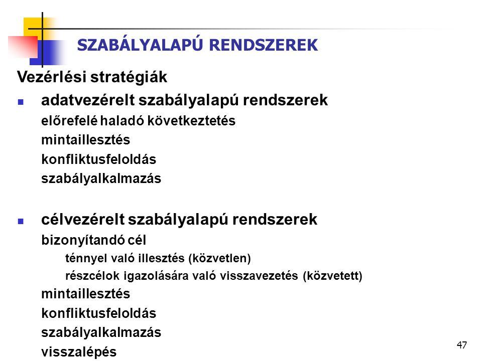 47 SZABÁLYALAPÚ RENDSZEREK Vezérlési stratégiák adatvezérelt szabályalapú rendszerek előrefelé haladó következtetés mintaillesztés konfliktusfeloldás