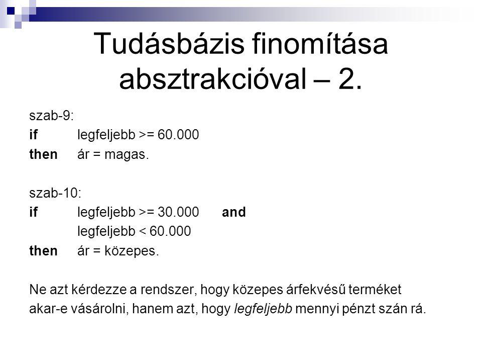 Tudásbázis finomítása absztrakcióval – 2. szab-9: iflegfeljebb >= 60.000 thenár = magas. szab-10: iflegfeljebb >= 30.000and legfeljebb < 60.000 thenár