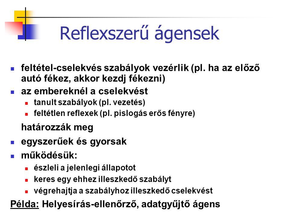 Reflexszerű ágensek feltétel-cselekvés szabályok vezérlik (pl. ha az előző autó fékez, akkor kezdj fékezni) az embereknél a cselekvést tanult szabályo