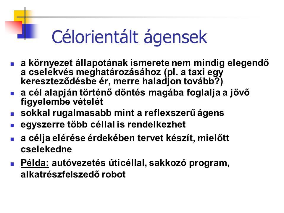 Célorientált ágensek a környezet állapotának ismerete nem mindig elegendő a cselekvés meghatározásához (pl. a taxi egy kereszteződésbe ér, merre halad