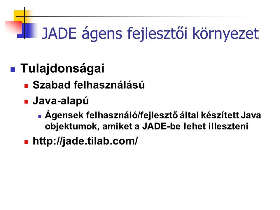 JADE ágens fejlesztői környezet Tulajdonságai Szabad felhasználású Java-alapú Ágensek felhasználó/fejlesztő által készített Java objektumok, amiket a