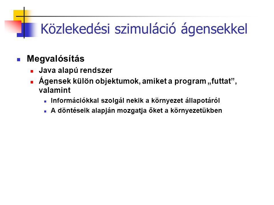 """Közlekedési szimuláció ágensekkel Megvalósítás Java alapú rendszer Ágensek külön objektumok, amiket a program """"futtat"""", valamint Információkkal szolgá"""