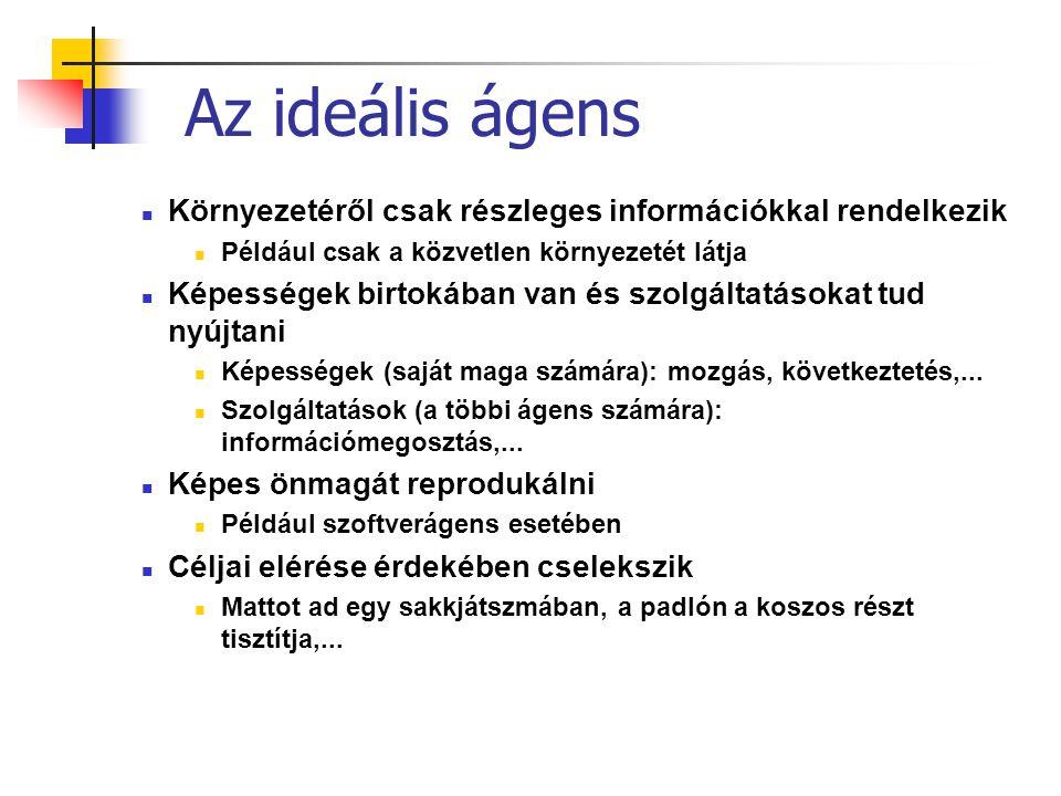 Ágens rendszerek: ágens platformok központi szolgáltatásokkal platformok: kapcsolatban lévő ágenseket tartalmaznak fő platform: mindig aktív, beépített ágensekkel (pl.kommunikációra, felhasználói felület kiszolgálására) standard kommunikáció: ACL üzenetekkel JADE ágens fejlesztői környezet