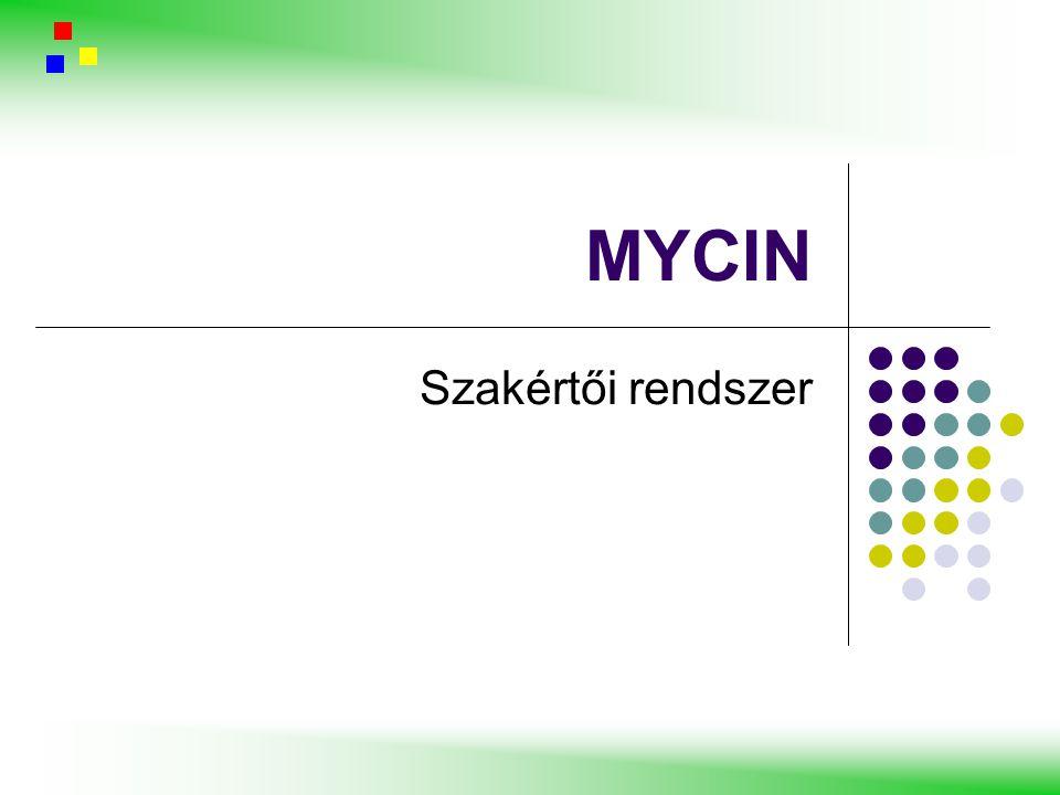 """MYCIN egyéb vezérlési lehetőségek az alapvető viselkedés módosításához (metaszabályok) szabály-interpreter először ezeket a szabályokat hajtja végre ~ 200 metaszabály –alfa/béta vágáshoz hasonló szabály –Lényeges környezeti szabályok újrarendezése –Általános (környezet független) probléma megoldó heurisztikák –További """"buta kérdések kihagyása (pl.: terhesség férfiaknál) 1."""