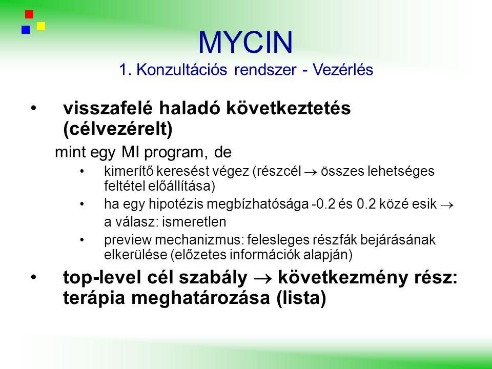 MYCIN visszafelé haladó következtetés (célvezérelt) mint egy MI program, de kimerítő keresést végez (részcél  összes lehetséges feltétel előállítása)