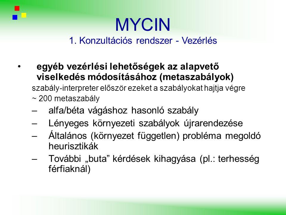MYCIN egyéb vezérlési lehetőségek az alapvető viselkedés módosításához (metaszabályok) szabály-interpreter először ezeket a szabályokat hajtja végre ~