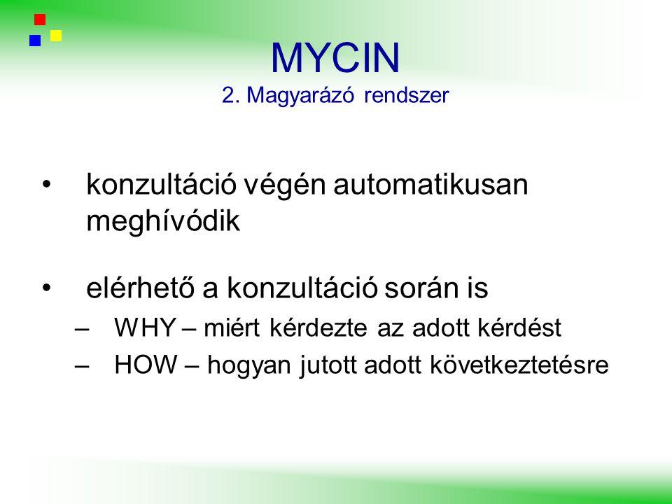 MYCIN konzultáció végén automatikusan meghívódik elérhető a konzultáció során is –WHY – miért kérdezte az adott kérdést –HOW – hogyan jutott adott köv
