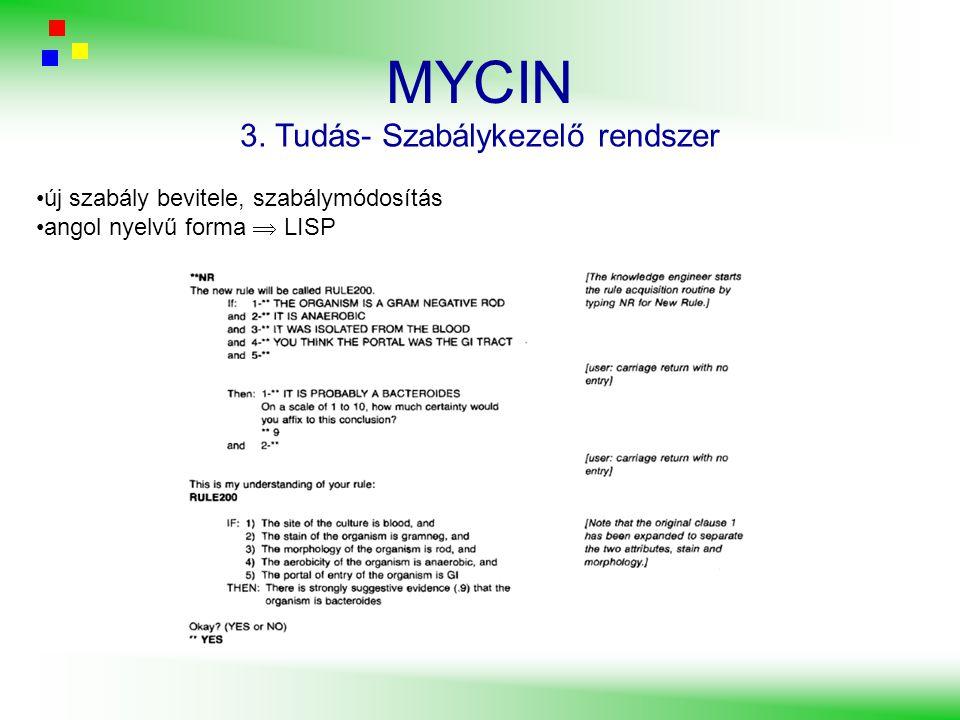 MYCIN 3. Tudás- Szabálykezelő rendszer új szabály bevitele, szabálymódosítás angol nyelvű forma  LISP