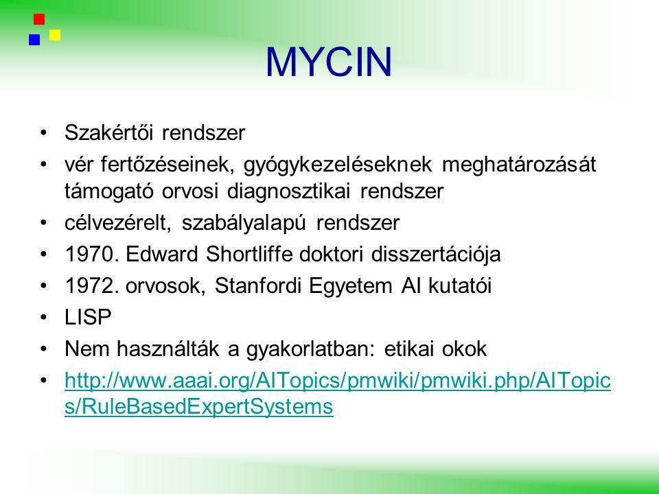 MYCIN Szakértői rendszer vér fertőzéseinek, gyógykezeléseknek meghatározását támogató orvosi diagnosztikai rendszer célvezérelt, szabályalapú rendszer