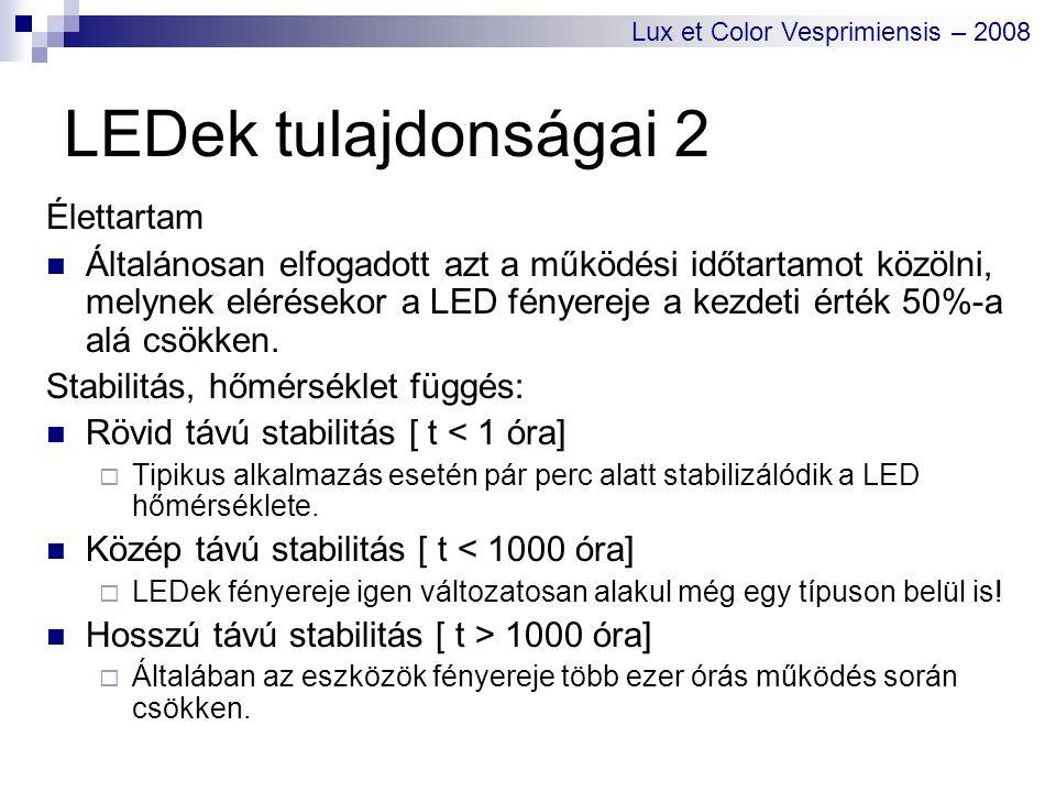 LEDek tulajdonságai 2 Élettartam Általánosan elfogadott azt a működési időtartamot közölni, melynek elérésekor a LED fényereje a kezdeti érték 50%-a a