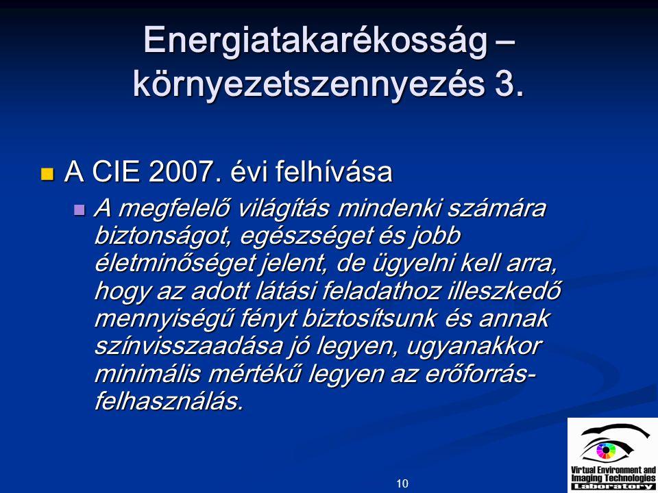 10 Energiatakarékosság – környezetszennyezés 3. A CIE 2007. évi felhívása A CIE 2007. évi felhívása A megfelelő világítás mindenki számára biztonságot