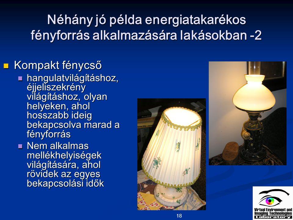 18 Néhány jó példa energiatakarékos fényforrás alkalmazására lakásokban -2 Kompakt fénycső Kompakt fénycső hangulatvilágításhoz, éjjeliszekrény világí