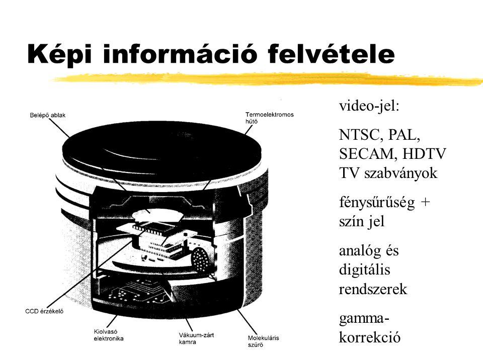 Képi információ felvétele video-jel: NTSC, PAL, SECAM, HDTV TV szabványok fénysűrűség + szín jel analóg és digitális rendszerek gamma- korrekció