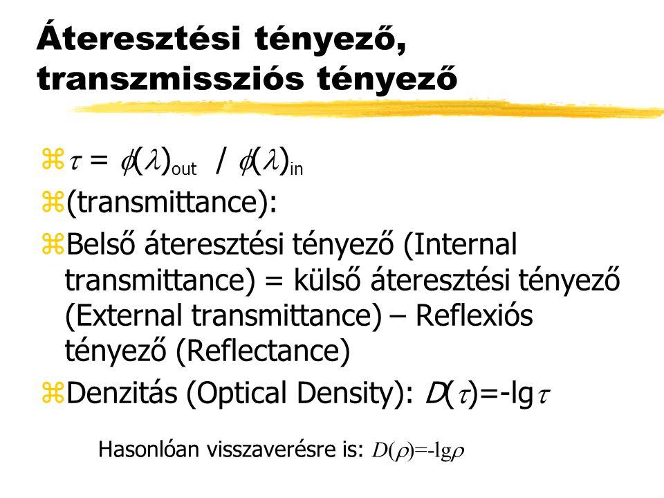 Áteresztési tényező, transzmissziós tényező   =  ( ) out /  ( ) in z(transmittance): zBelső áteresztési tényező (Internal transmittance) = külső áteresztési tényező (External transmittance) – Reflexiós tényező (Reflectance)  Denzitás (Optical Density): D(  )=-lg  Hasonlóan visszaverésre is: D(  )=-lg 