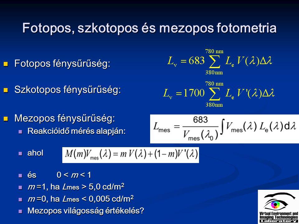 CIE TC 1-58 mezopos fotometriai modell M (m) normalizáló függvény, maximumra normalizálja V mes -t M (m) normalizáló függvény, maximumra normalizálja V mes -t m =1, ha L mes > 5,0 cd/m 2 m =1, ha L mes > 5,0 cd/m 2 m =0, ha L mes < 0,005 cd/m 2 m =0, ha L mes < 0,005 cd/m 2 Az iterációt m0 =0,5-ről indítjuk Az iterációt m0 =0,5-ről indítjuk V mes m függése: V mes m függése: 10