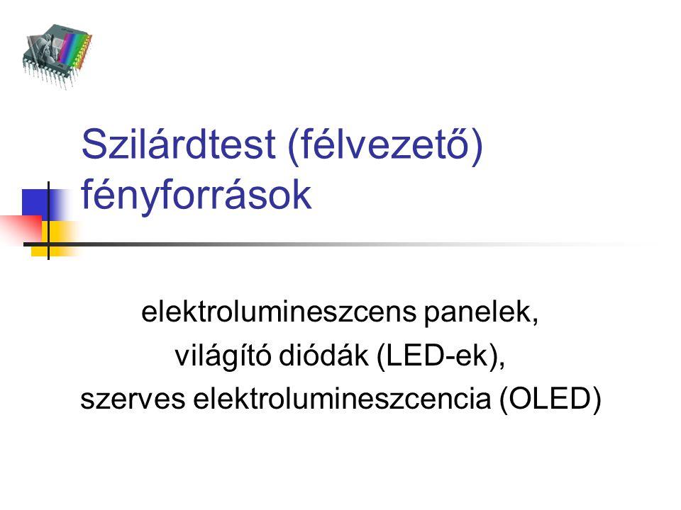 Szilárdtest (félvezető) fényforrások elektrolumineszcens panelek, világító diódák (LED-ek), szerves elektrolumineszcencia (OLED)