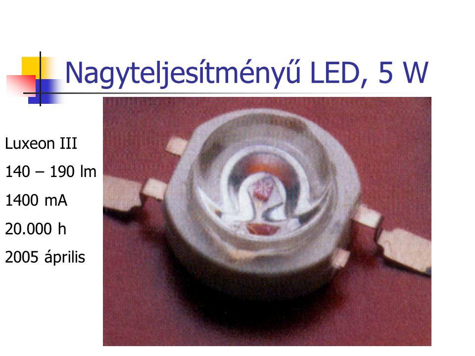 Nagyteljesítményű LED, 5 W Luxeon III 140 – 190 lm 1400 mA 20.000 h 2005 április