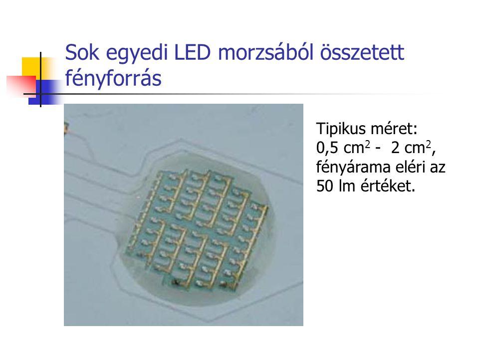 Sok egyedi LED morzsából összetett fényforrás Tipikus méret: 0,5 cm 2 - 2 cm 2, fényárama eléri az 50 lm értéket.
