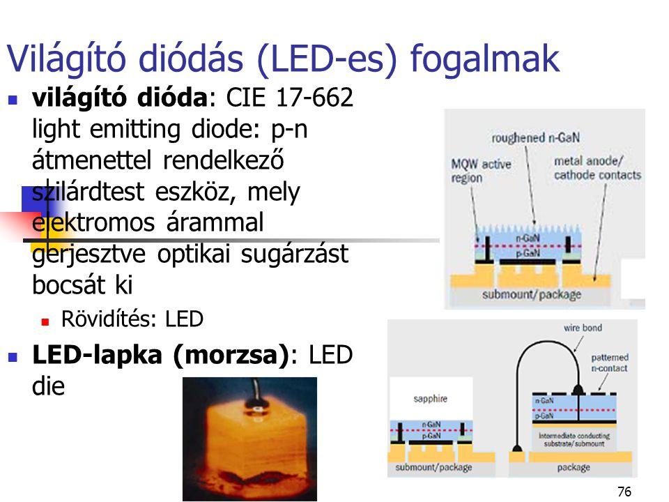 76 Világító diódás (LED-es) fogalmak világító dióda: CIE 17-662 light emitting diode: p-n átmenettel rendelkező szilárdtest eszköz, mely elektromos ár